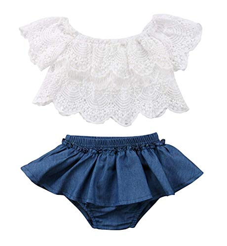 Newborn Baby Girl Clothes Lace T-Shirts Tops+Jeans Denim Skirts Girl Clothes Set 2PCS 12-18Months White-Blue