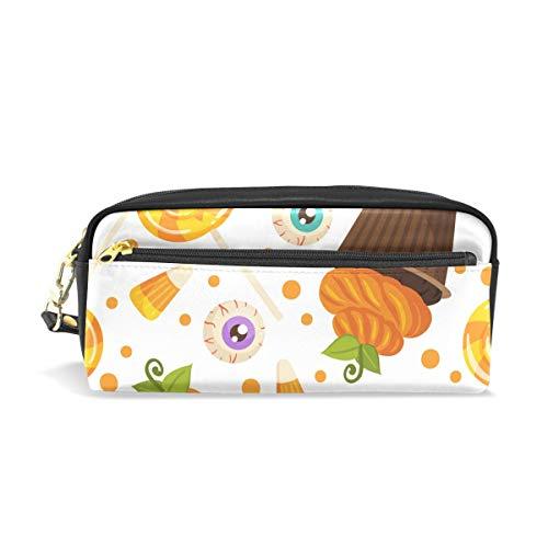 U Life Pencil Bag Pouch Case Pen Holder Box with Zipper for School Boys Girls Kids Halloween Thanksgiving Day Pumpkin Sugar Candy Eyes Autumn Fall -