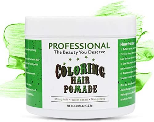 Hair Coloring Pomade Green Temporary Hair Dry Pomade for Party or Daily Use Instant Styling Color Mud by SWLKG