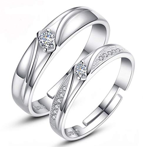 Haluoo Couple Rings,Luxurious Men's Women's S925 Sterling Silver Diamond Couple Rings Rhinestone Geometric Round Openwork Halo Ring Wedding Engagement Promise Rings Adjustable (Silver)