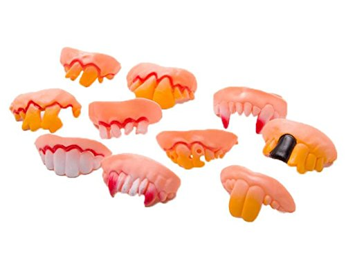 Dream Loom Fake Teeth Toy, Funny Teeth for Vampire Zombie,Halloween Dentures Cosplay Props Costume Party Decoration (Set of 10)