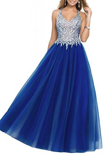 Bodice Illusion - SDRESS Women's Beaded Rhinestones Illusion Bodice A-line Halter Prom Homecoming Dress Royal Blue Size 16