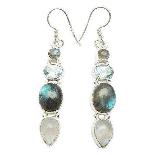Handmade Earring Multi &Labradorite, Rainbow, Blue Topaz (Blue Topaz Labradorite Earrings)