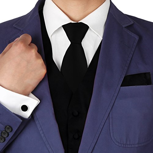 Solid Black Formal Vest for Men Patterned for Mens Gift Idea with Neck Tie, Cufflinks, Handkerchief, Bow Tie for Suit Vs1003 (3xl) by Y&G (Image #9)