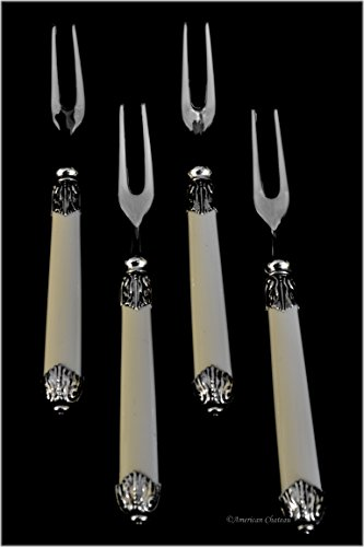 Set of 12 Appetizer Cocktail Forks with Faux-Ivory Handles ()