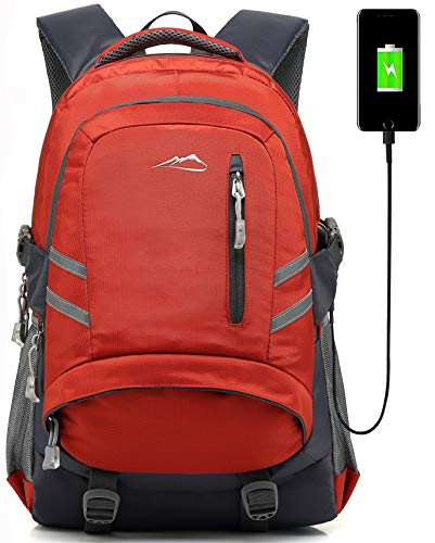 Backpack Bookbag For School College Student Sturdy Travel Business Laptop Compartment with USB Charging Port Luggage Chest Straps Night Light Reflective (Orange)