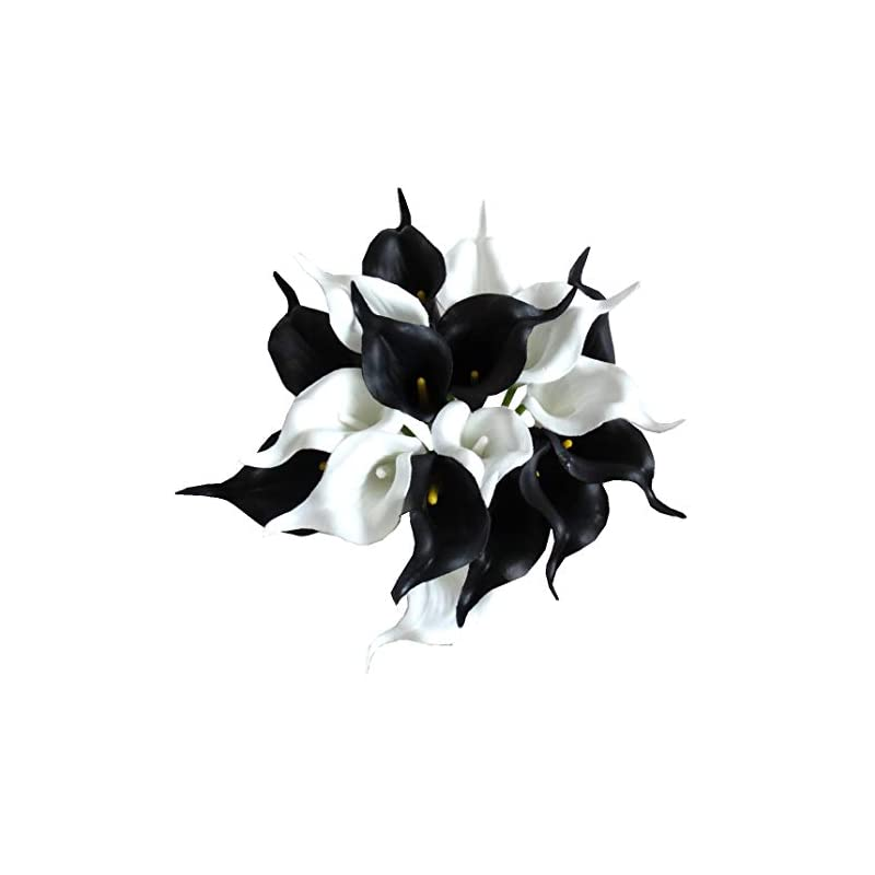 """silk flower arrangements mandy's 20pcs black and white artificial calla lily flowers 13.4"""" for home kitchen & wedding decorations"""
