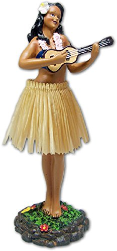 Leilani Dashboard Natural Skirt Hula Doll Playing Ukulele