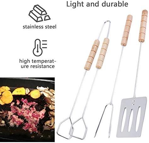 Facile à Nettoyer et hygiénique 3pcs BBQ Tool Set Spatula Fork Tong avec de Longues poignées Grip Grill pour Une Utilisation extérieure et intérieure - Silver + Wood Color