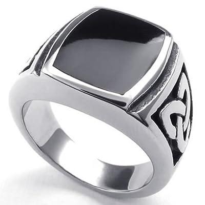 KONOV Jewelry Mens Stainless Steel Ring, Celtic Knot Signet, Black Silver