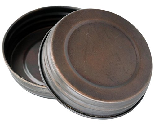 Oil Rubbed Bronze Vintage Reproduction Lids for Mason, Ball, Canning Jars (4 Pack, Wide Mouth)