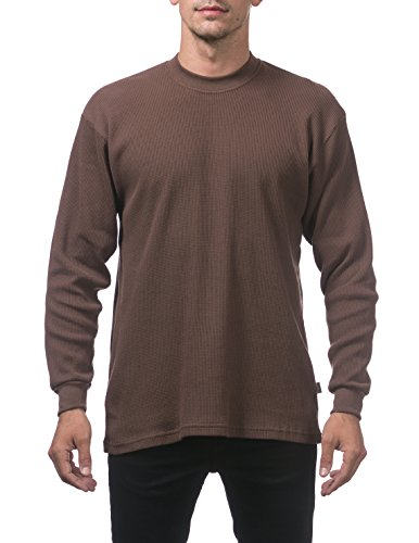 (Pro Club Men's Heavyweight Cotton Long Sleeve Thermal Top, X-Large, Brown)