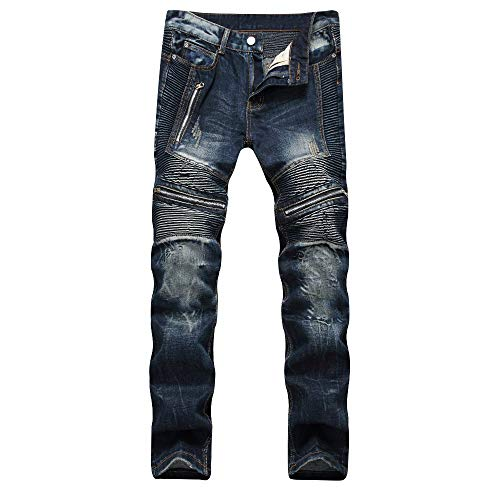 Liuhond Slim Fashion Mens Ripped Straight Holes Hip Hop Biker Stretchy Jeans