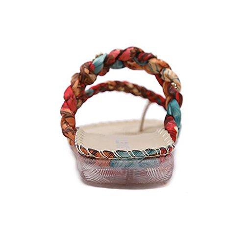 BININBOX Womens Bohemia Sandals Flat Slippers Apricot dPQY2RpoWk