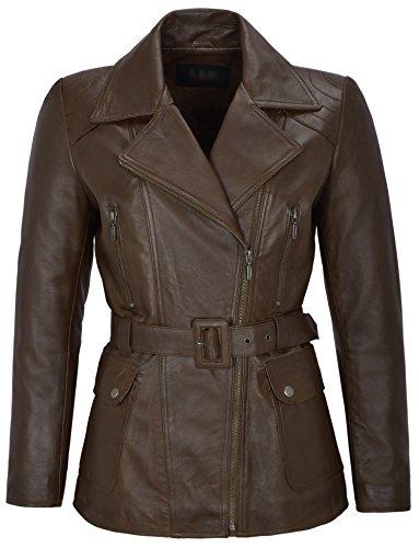 Chaqueta de cuero marrón de piel de cordero real de mujer Chaqueta de diseñador de moda de media longitud de invierno