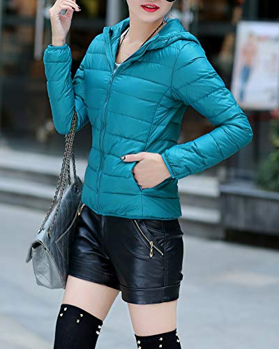 Blue Size Large GUOCU Thin Sky and Coats Down Hooded Women's Light Short Slim Fit Jackets YSY06wq