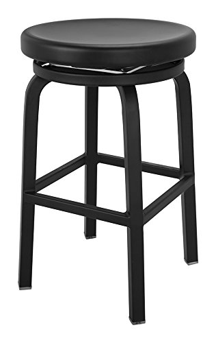 CHAIR DEPOTS Atlantic Aluminum Swivel Backless Counter Stool, Matte Black Finish