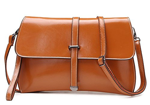 BestFire Fashion Women's Leather Cow Genuine Leather Envelope Bag Clutch Phone Case Purse Crossbody with Wrist Strap Shoulder Handbag