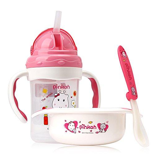 PINKAH Kids 3-Pieces Dinnerware Set, Water Bottle, Bowl, Spoon, Pack of 3, Pink