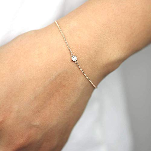 Diamond Solitaire Bracelet, Natural Brilliant Cut Diamond Bracelet, 14k Minimalist Bracelet, Diamond Bracelet, Gifts for Her