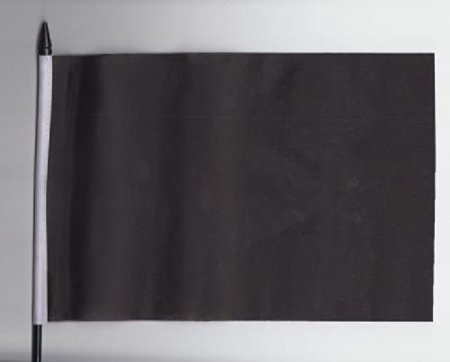 Plain Black Medium Hand Held Flag 23cm x 15cm