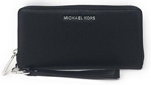 Michael Kors Jet Set Travel Continental Zip Around Leather Wallet Wristlet (Black with Silver Hardware) -