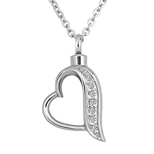 JewelryHouse Cremation Urn Memorial Ash Keepsake Heart Love Stainless Steel Pendant Neckalce (Heart ()