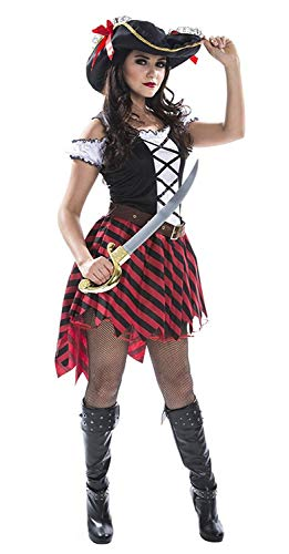 (Morph Womens Sexy Pirate Wench Costume Female Pirates Dress Quality Outfit for Women)