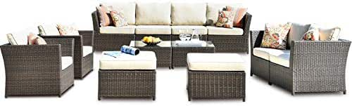 ovios Patio Furniture Set, Backyard Sofa Outdoor Furniture 12 Pcs Sets,PE Rattan Wicker sectional with 4 Pillows and Coffee Table, No Assembly Required,Brown