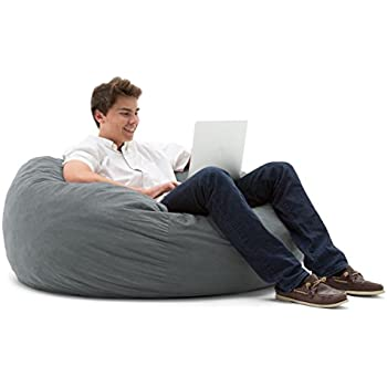 Big Joe Large Fuf Foam Filled Bean Bag Chair Comfort Suede Steel Grey