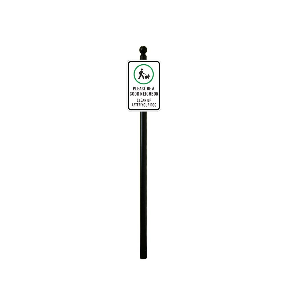 Reflective Please Clean Up After Your Dog Sign 8ft Post (Small Ball Finial with No Base)