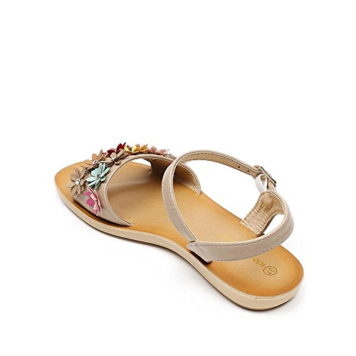 Ideal Shoes, Damen Sandalen Beige