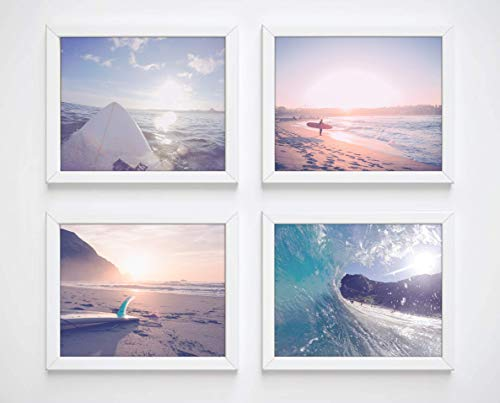 Surfing Photography Photographic Prints, Set of 4, Unframed, Surf Surfboard Beach Art Decor Poster Sign, 8x10