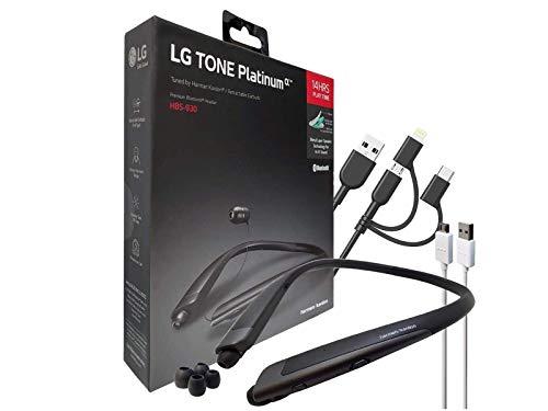 LG Tone Platinum Alpha HBS-930 HD Bluetooth Headset - Harman Kardon with 3in1 USB Lighting & Micro (Retail Packing Kit)