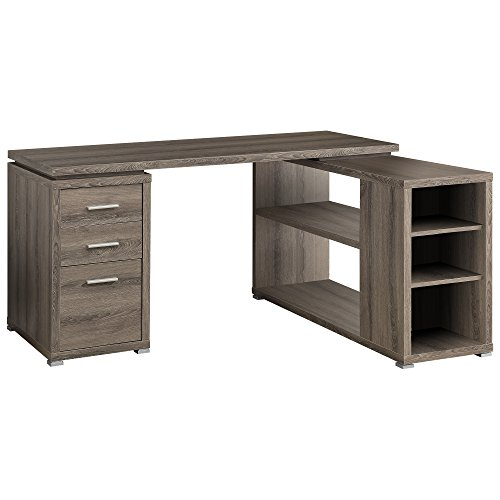 Monarch Specialties Hollow-Core Left or Right Facing Corner Desk, Dark Taupe (Wood Stores Reclaimed Furniture)