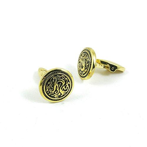 50 Pairs Cufflinks Cuff Links Fashion Mens Boys Jewelry Wedding Party Favors Gift LGI038 Round Golden Enamel Dragon by Fulllove Jewelry