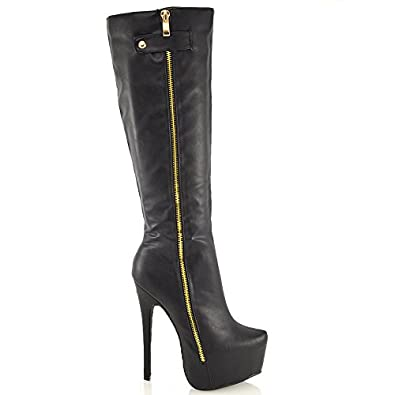 Women's Unique High Stiletto Heels Zip Up Platform Knee High Booties