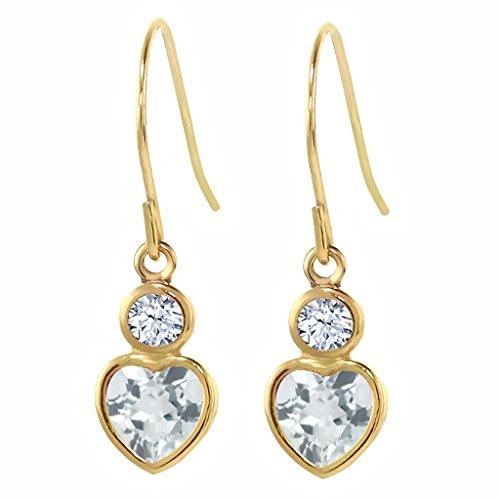 Heart Shape Aquamarine Earrings - 7
