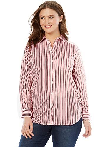 - Roamans Women's Plus Size The Kate Shirt - Dark Cherry Stripe, 14 W
