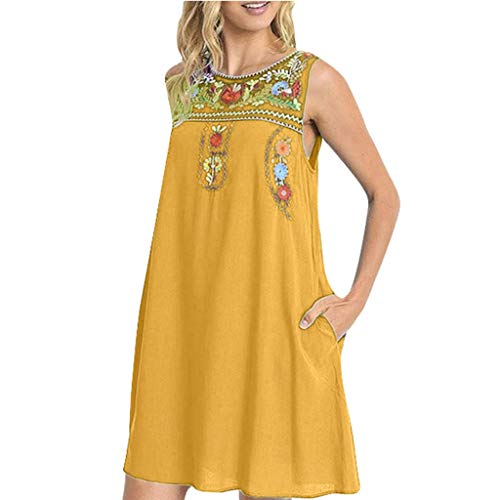 (Womens Tank Dress Bohemian Summer Round Neck Fashion Casual Sleeveless Vintage Embroidery Mini T Shirt A-Line Dresses Yellow)