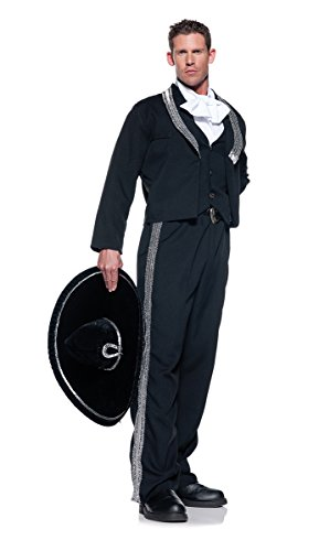 [Men's Mariachi Costume, Black/Silver/White, XX-Large] (Traditional Costumes For Day Of The Dead)