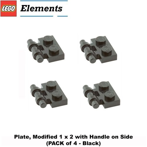 Lego Parts: Plate, Modified 1 x 2 with Handle on Side (PACK of 4 - Black)