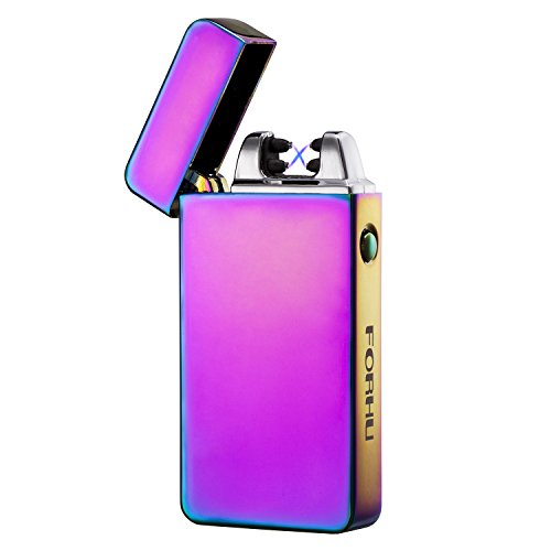 FORHU Windproof Flameless Electronic Pulse Arc Cigarette Lighter USB Charging Cigar Lighter Rechargeable No Gas Souvenir Gentlemen Innocadeau Cigarette Lighter Men Best Gift (RAINBOW)