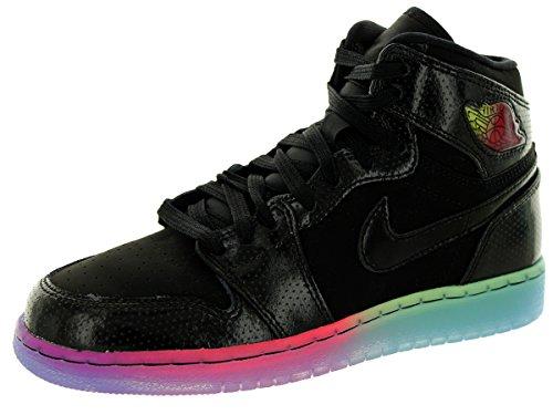 Nike Jordan Kids Air Jordan 1 Retro Hi Prem GG Black/Black/Fuchsia Flash Basketball Shoe 3.5 Kids US