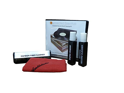 Vinyl Record Cleaning Kit by Connected Essentials with Stylus, Discwasher Cleaning Cloth and Solution