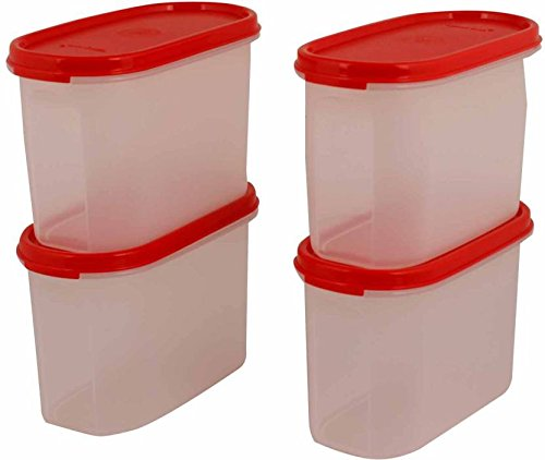 Tupperware 1100 ml Plastic Multi purpose Storage Container  Pack of 4, White, Red  Jars   Containers