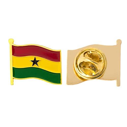 Ghana Country Flag Lapel Pin Enamel Made of Metal Souvenir Hat Men Women Patriotic (Waving Flag Lapel Pin) ()