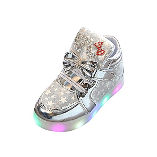 Egmy 2017 Baby Sneakers Star Luminous Child Casual Colorful Light Shoes Silver
