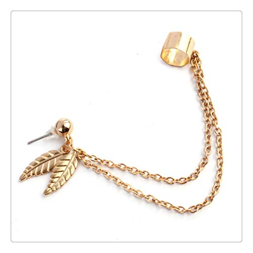 Clearance! WaiiMak Leaf Tassel Ear Crawler Earring Climber Multi Layered Studs Cuffs Ear Wrap Pin Vine Charm Clip On Jewelry (Gold)
