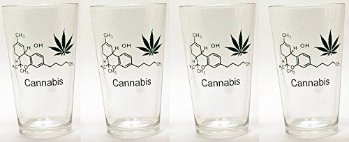 """16 oz Borosilicate Pint Beer Glasses for Lager, Ale, Porters, Stouts and IPA's with """"Cannabis / Marijuana"""" molecular graphics, Set of (Ale Lager Beer)"""